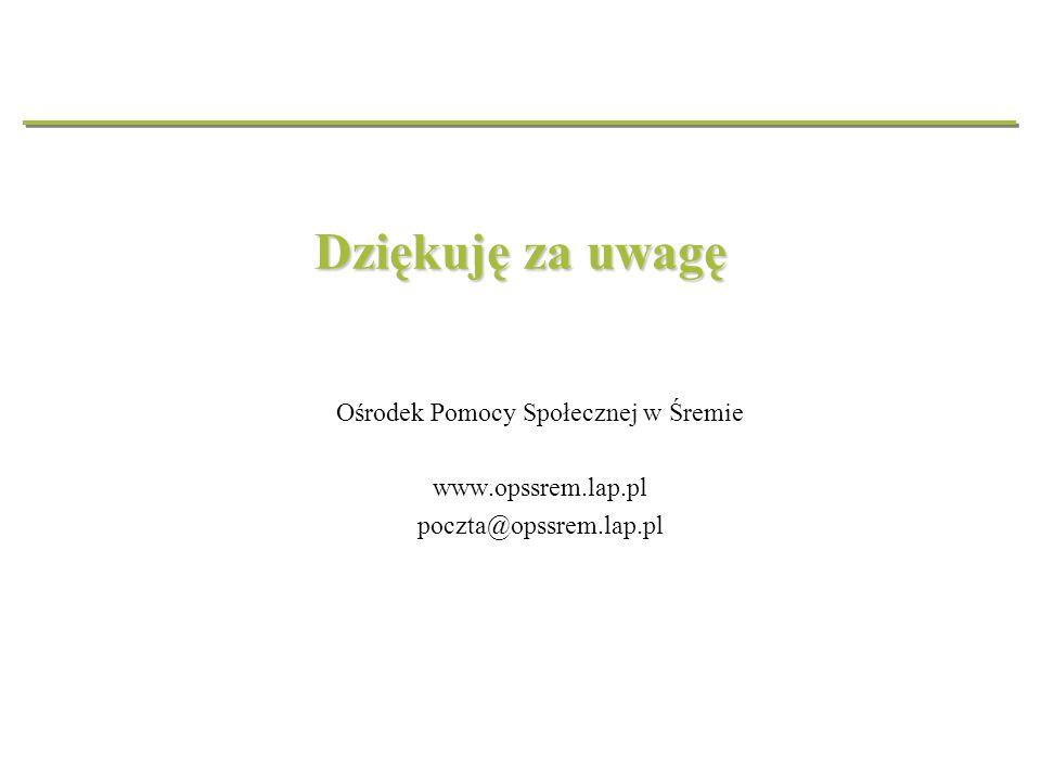 Dziękuję za uwagę Ośrodek Pomocy Społecznej w Śremie www.opssrem.lap.pl poczta@opssrem.lap.pl
