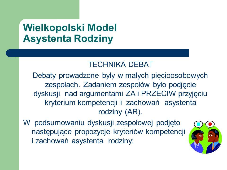 Wielkopolski Model Asystenta Rodziny TECHNIKA DEBAT Debaty prowadzone były w małych pięcioosobowych zespołach.