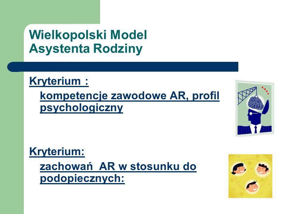 Wielkopolski Model Asystenta Rodziny Kryterium : kompetencje zawodowe AR, profil psychologiczny Kryterium: zachowań AR w stosunku do podopiecznych: