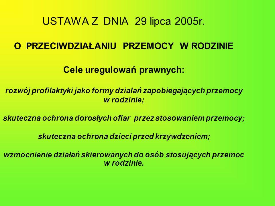 USTAWA Z DNIA 29 lipca 2005r. O PRZECIWDZIAŁANIU PRZEMOCY W RODZINIE Cele uregulowań prawnych: rozwój profilaktyki jako formy działań zapobiegających