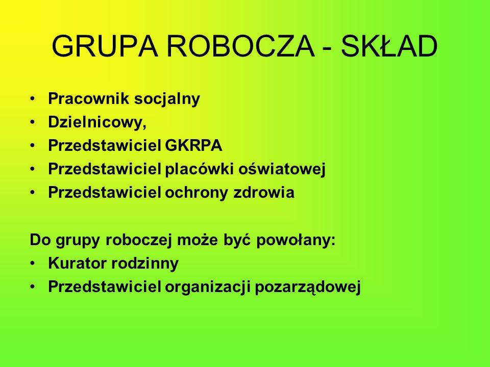 GRUPA ROBOCZA - SKŁAD Pracownik socjalny Dzielnicowy, Przedstawiciel GKRPA Przedstawiciel placówki oświatowej Przedstawiciel ochrony zdrowia Do grupy