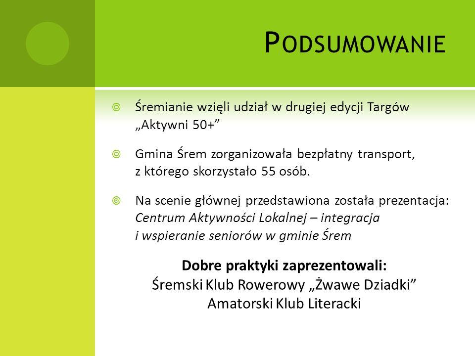 P ODSUMOWANIE Śremianie wzięli udział w drugiej edycji Targów Aktywni 50+ Gmina Śrem zorganizowała bezpłatny transport, z którego skorzystało 55 osób.