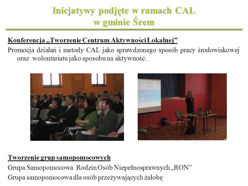Inicjatywy podjęte w ramach CAL w gminie Śrem Konferencja Tworzenie Centrum Aktywności Lokalnej Promocja działań i metody CAL jako sprawdzonego sposób
