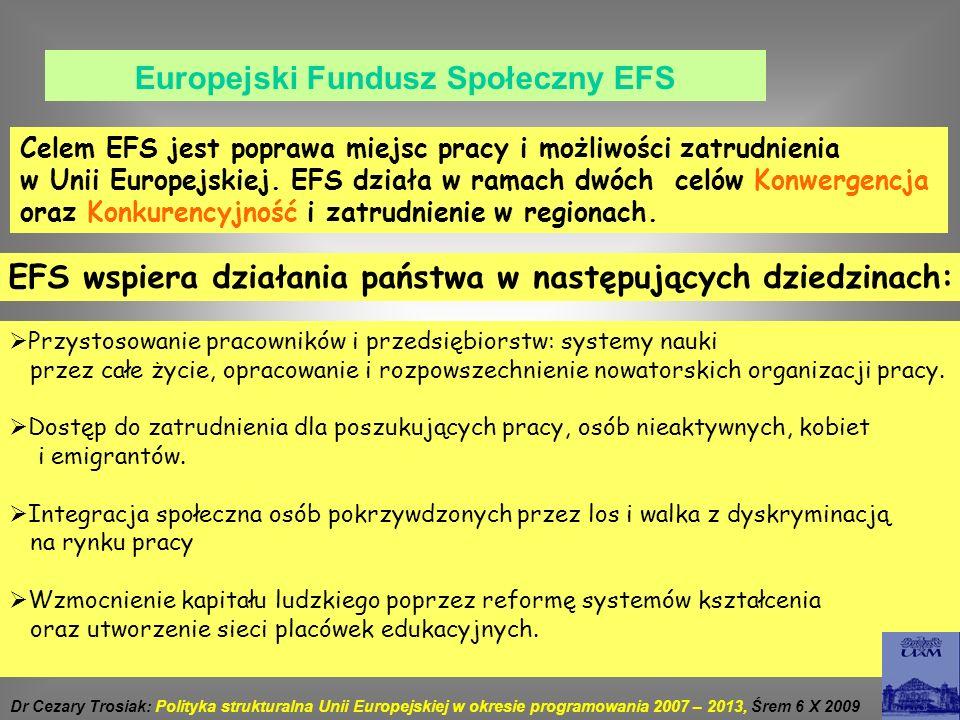 Europejski Fundusz Społeczny EFS Celem EFS jest poprawa miejsc pracy i możliwości zatrudnienia w Unii Europejskiej. EFS działa w ramach dwóch celów Ko