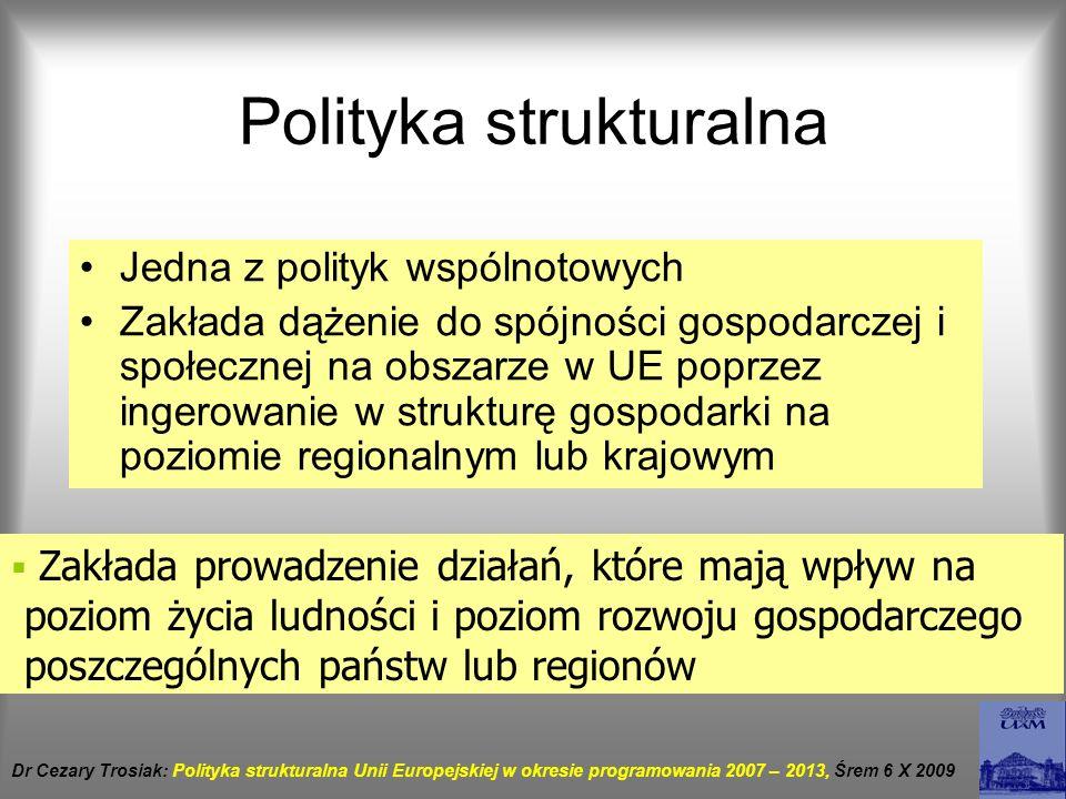 Polityka strukturalna Jedna z polityk wspólnotowych Zakłada dążenie do spójności gospodarczej i społecznej na obszarze w UE poprzez ingerowanie w stru