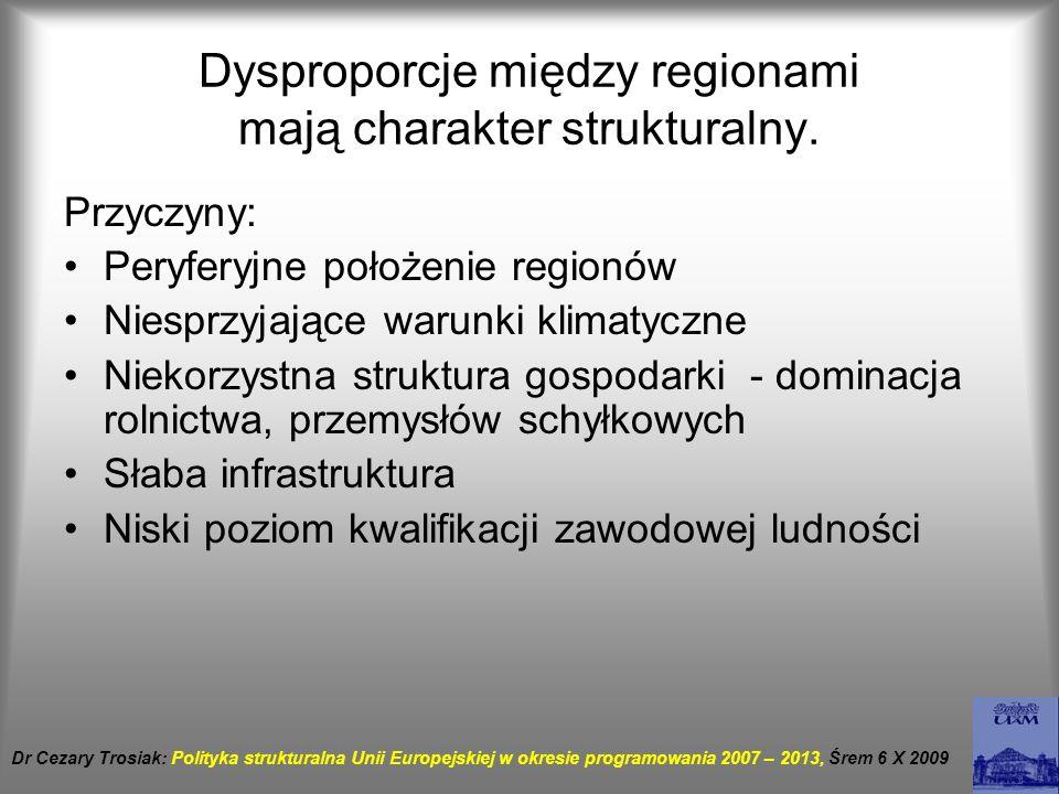 Dysproporcje między regionami mają charakter strukturalny. Przyczyny: Peryferyjne położenie regionów Niesprzyjające warunki klimatyczne Niekorzystna s