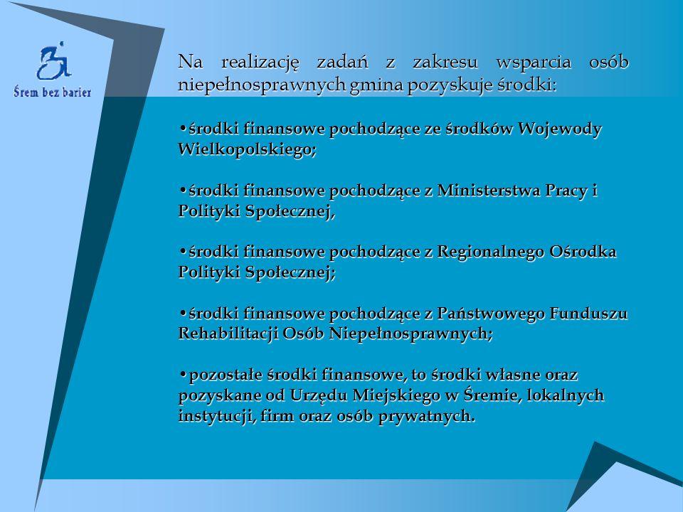 Na realizację zadań z zakresu wsparcia osób niepełnosprawnych gmina pozyskuje środki: środki finansowe pochodzące ze środków Wojewody Wielkopolskiego;