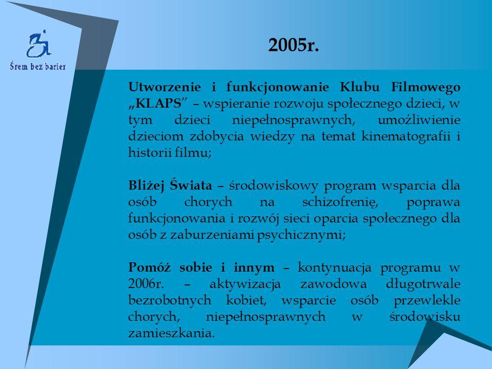 2005r. Utworzenie i funkcjonowanie Klubu Filmowego KLAPS – wspieranie rozwoju społecznego dzieci, w tym dzieci niepełnosprawnych, umożliwienie dziecio