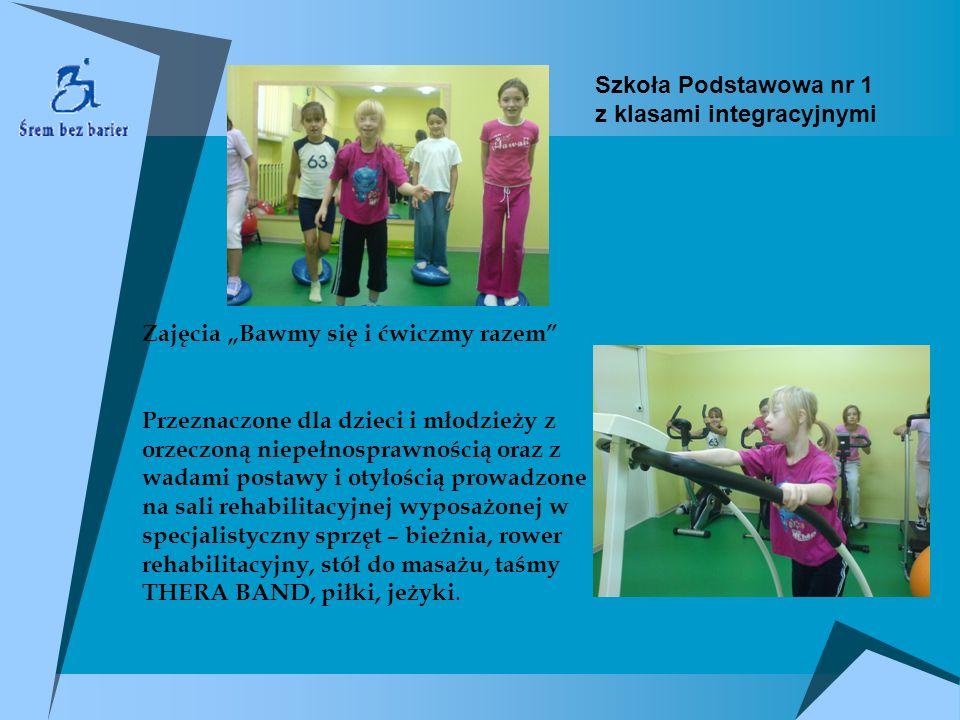 Zajęcia Bawmy się i ćwiczmy razem Przeznaczone dla dzieci i młodzieży z orzeczoną niepełnosprawnością oraz z wadami postawy i otyłością prowadzone na