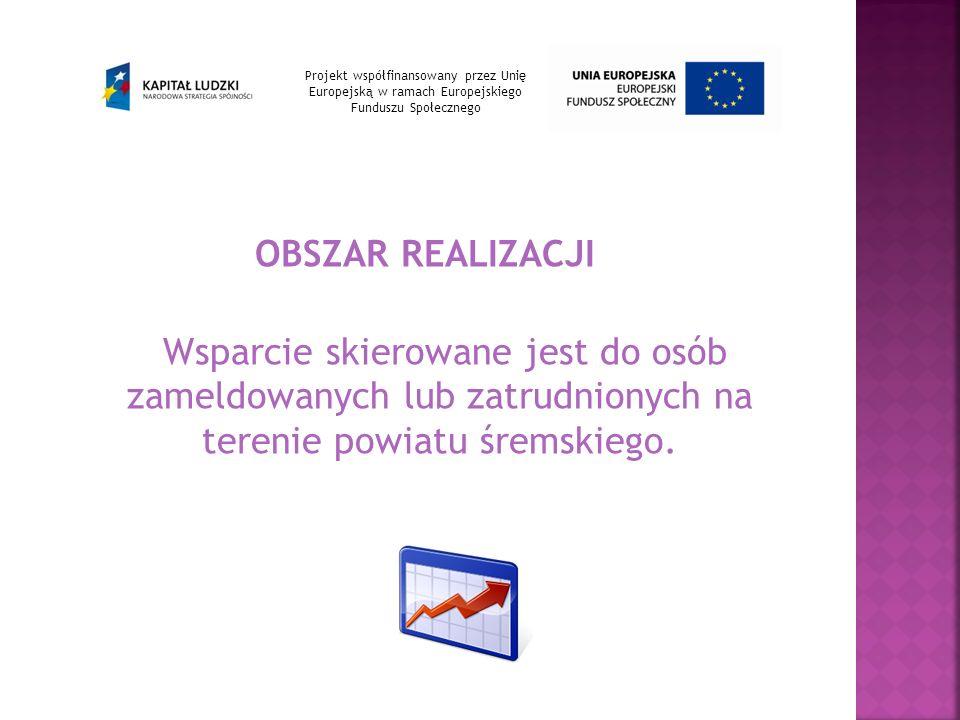 OBSZAR REALIZACJI Wsparcie skierowane jest do osób zameldowanych lub zatrudnionych na terenie powiatu śremskiego.
