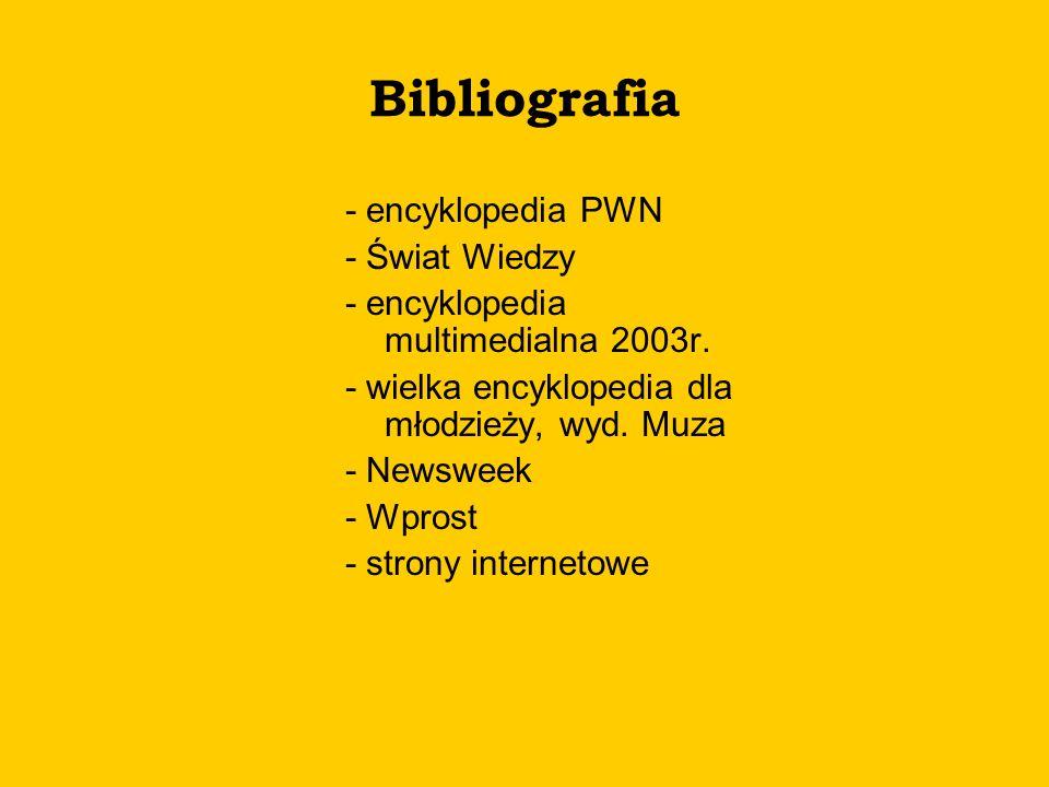 Bibliografia - encyklopedia PWN - Świat Wiedzy - encyklopedia multimedialna 2003r. - wielka encyklopedia dla młodzieży, wyd. Muza - Newsweek - Wprost