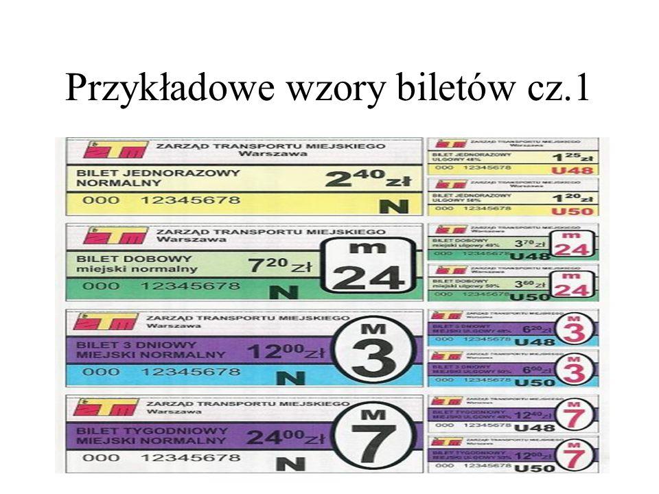Przykładowe wzory biletów cz.1