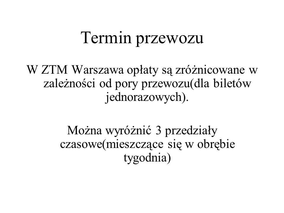 Termin przewozu W ZTM Warszawa opłaty są zróżnicowane w zależności od pory przewozu(dla biletów jednorazowych).
