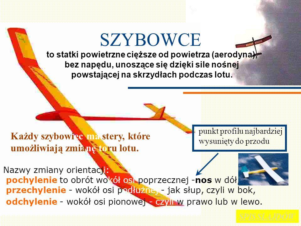 SIŁA AERODYNAMICZNA Strumień powietrza opływający górną powierzchnię skrzydła ma do pokonania drogę dłuższą niż dolny. Powietrze nad skrzydłem ma więk
