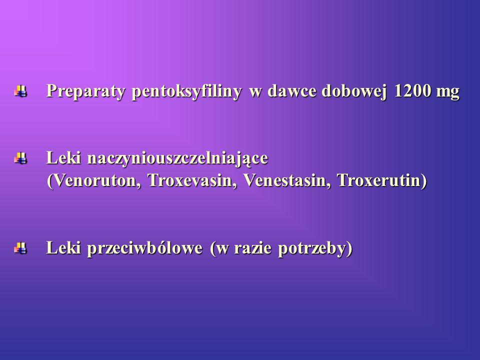 Preparaty pentoksyfiliny w dawce dobowej 1200 mg Preparaty pentoksyfiliny w dawce dobowej 1200 mg Leki naczyniouszczelniające Leki naczyniouszczelniaj