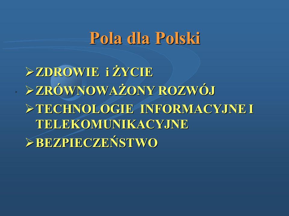 Pola dla Polski ZDROWIE i ŻYCIE ZDROWIE i ŻYCIE ZRÓWNOWAŻONY ROZWÓJ ZRÓWNOWAŻONY ROZWÓJ TECHNOLOGIE INFORMACYJNE I TELEKOMUNIKACYJNE TECHNOLOGIE INFOR