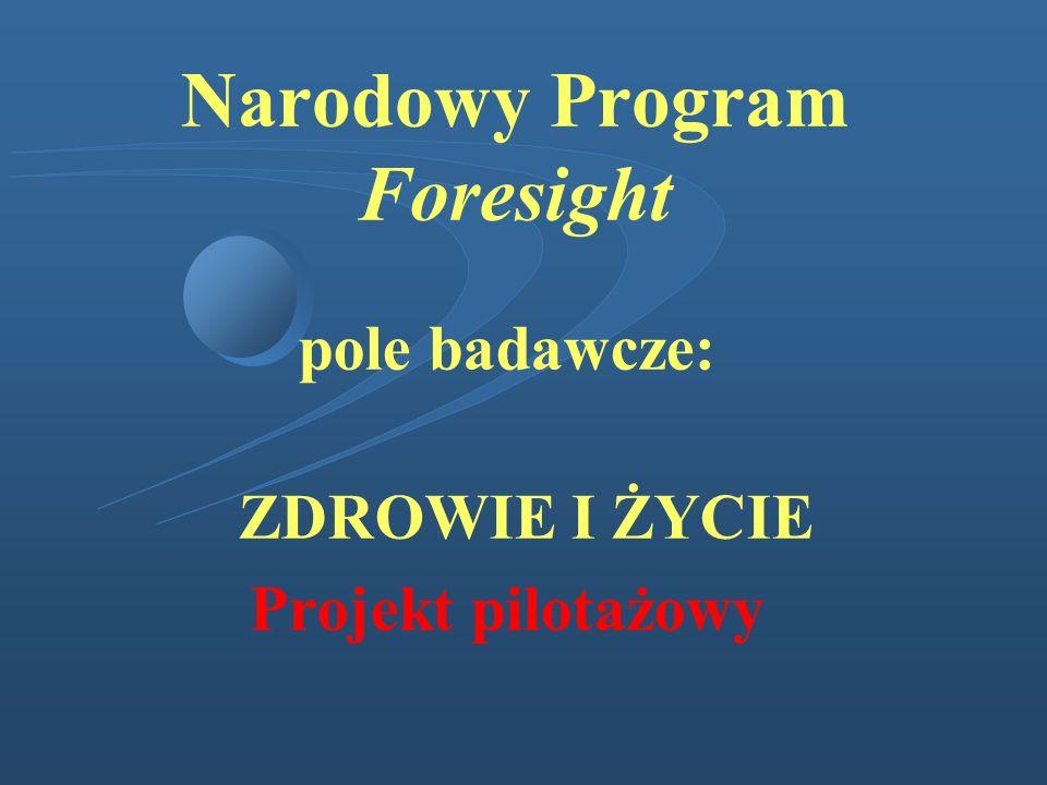 Narodowy Program Foresight pole badawcze: ZDROWIE I ŻYCIE Projekt pilotażowy