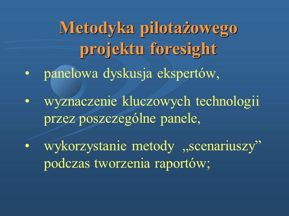 Metodyka pilotażowego projektu foresight panelowa dyskusja ekspertów, wyznaczenie kluczowych technologii przez poszczególne panele, wykorzystanie meto