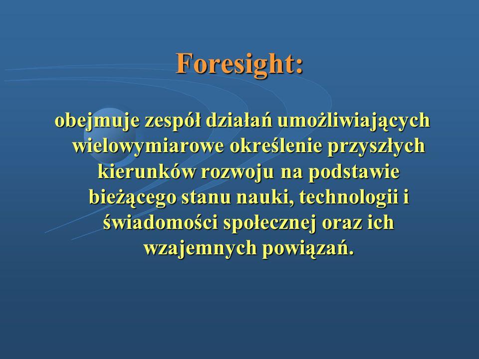 Foresight: obejmuje zespół działań umożliwiających wielowymiarowe określenie przyszłych kierunków rozwoju na podstawie bieżącego stanu nauki, technolo