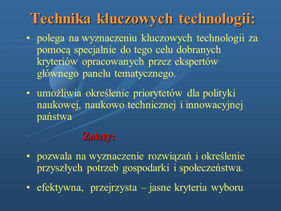 Technika kluczowych technologii: polega na wyznaczeniu kluczowych technologii za pomocą specjalnie do tego celu dobranych kryteriów opracowanych przez