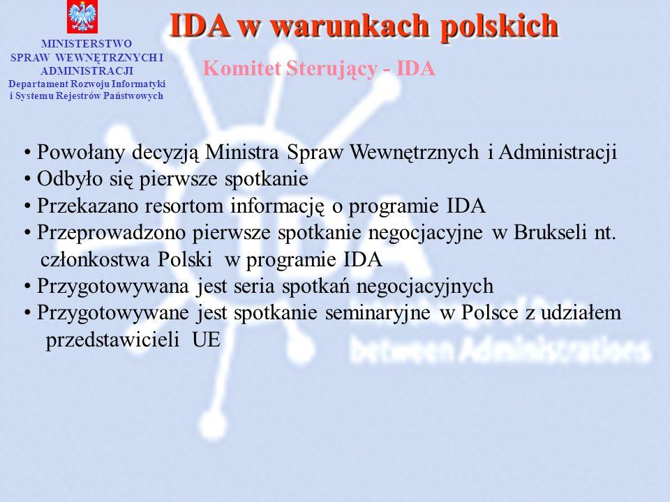 IDA w warunkach polskich Komitet Sterujący - IDA MINISTERSTWO SPRAW WEWNĘTRZNYCH I ADMINISTRACJI Departament Rozwoju Informatyki i Systemu Rejestrów P
