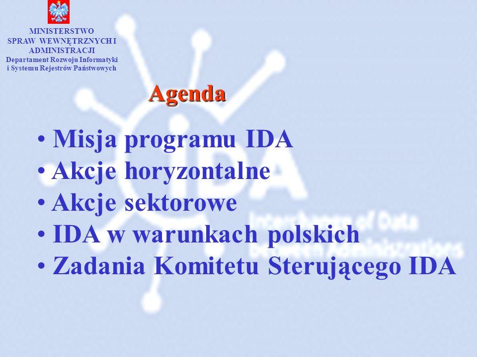 AgendaAgenda Misja programu IDA Akcje horyzontalne Akcje sektorowe IDA w warunkach polskich Zadania Komitetu Sterującego IDA MINISTERSTWO SPRAW WEWNĘT