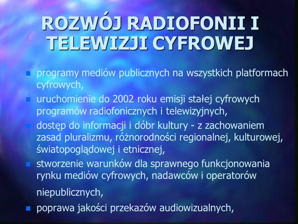ROZWÓJ RADIOFONII I TELEWIZJI CYFROWEJ n n programy mediów publicznych na wszystkich platformach cyfrowych, n n uruchomienie do 2002 roku emisji stałe
