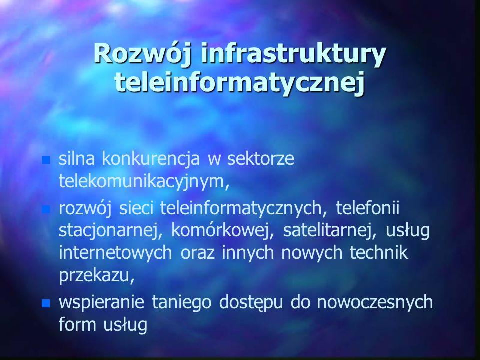 Powszechny, tańszy, szybszy i bezpieczny Internet n n obniżenie opłat za korzystanie z Internetu, n n alternatywne formy dostępu do sieci, n n ogólnodostępne centra – poczty, biblioteki, urzędy, szkoły, telecentra, n n polepszenie jakości dostępu do zasobów Internetu na terenie całego kraju, n n współudział samorządów w zwiększeniu liczby punktów dostępu do sieci.