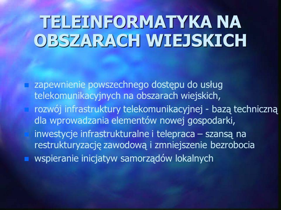 TELEINFORMATYKA NA OBSZARACH WIEJSKICH n n zapewnienie powszechnego dostępu do usług telekomunikacyjnych na obszarach wiejskich, n n rozwój infrastruk