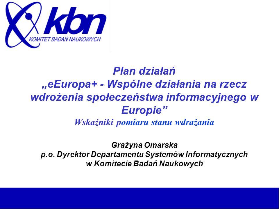 Plan działań eEuropa+ - Wspólne działania na rzecz wdrożenia społeczeństwa informacyjnego w Europie Wskaźniki pomiaru stanu wdrażania Grażyna Omarska p.o.