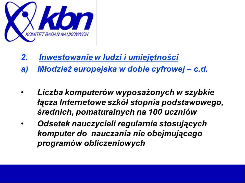 2. Inwestowanie w ludzi i umiejętności a)Młodzież europejska w dobie cyfrowej – c.d.