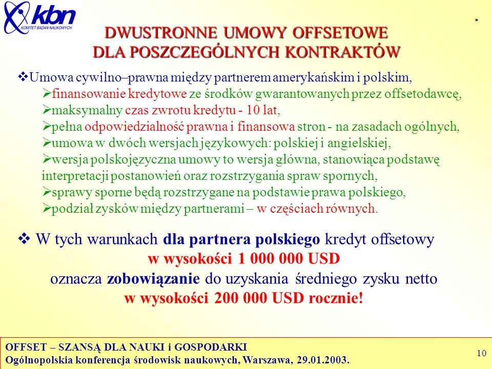 OFFSET – SZANSĄ DLA NAUKI i GOSPODARKI Ogólnopolskia konferencja środowisk naukowych, Warszawa, 29.01.2003. 10 DWUSTRONNE UMOWY OFFSETOWE DLA POSZCZEG