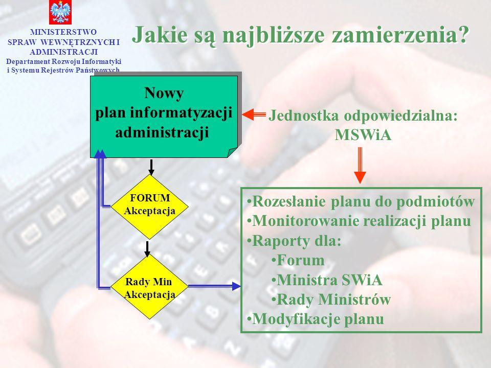 Jakie są najbliższe zamierzenia? MINISTERSTWO SPRAW WEWNĘTRZNYCH I ADMINISTRACJI Departament Rozwoju Informatyki i Systemu Rejestrów Państwowych Nowy