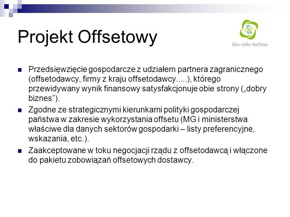 Projekt Offsetowy Przedsięwzięcie gospodarcze z udziałem partnera zagranicznego (offsetodawcy, firmy z kraju offsetodawcy.....), którego przewidywany