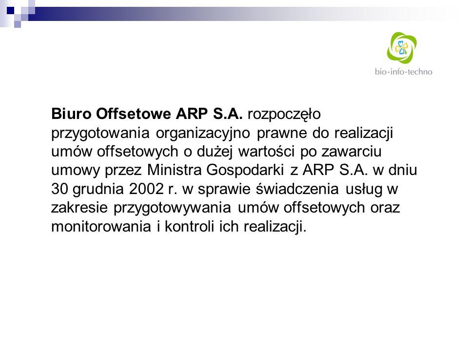 Biuro Offsetowe ARP S.A. rozpoczęło przygotowania organizacyjno prawne do realizacji umów offsetowych o dużej wartości po zawarciu umowy przez Ministr