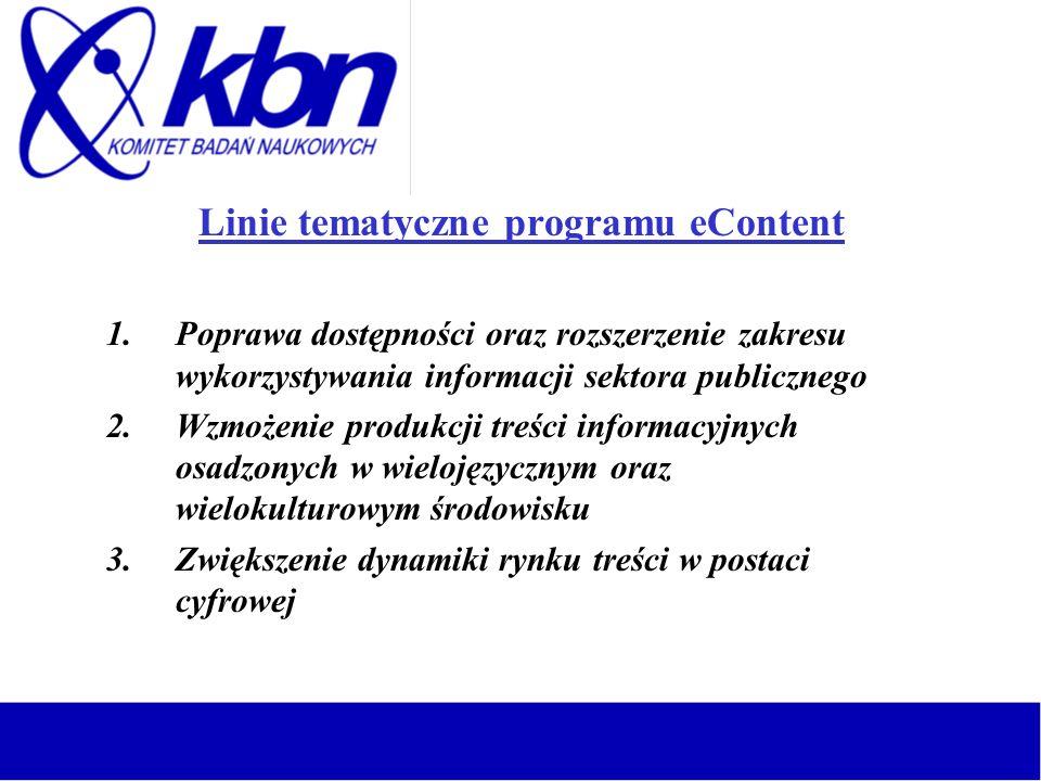Linie tematyczne programu eContent 1.Poprawa dostępności oraz rozszerzenie zakresu wykorzystywania informacji sektora publicznego 2.Wzmożenie produkcj