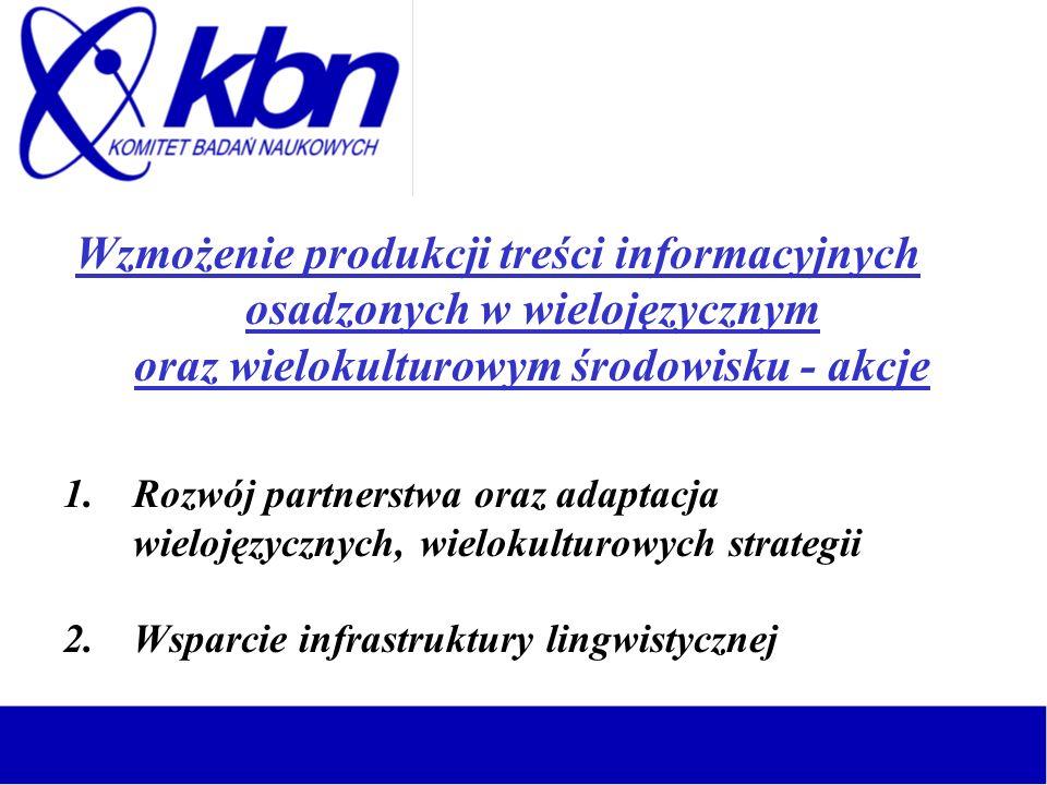 Zwiększenie dynamiki rynku treści w postaci cyfrowej – akcje 1.Pomost pomiędzy przemysłem treści informacyjnych a rynkiem kapitałowym 2.Prawo handlowe rynku treści informacyjnych 3.Tworzenie i dzielenie się wspólnymi wizjami 4.Rozpowszechnianie wyników