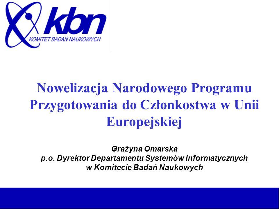 Nowelizacja Narodowego Programu Przygotowania do Członkostwa w Unii Europejskiej Grażyna Omarska p.o. Dyrektor Departamentu Systemów Informatycznych w