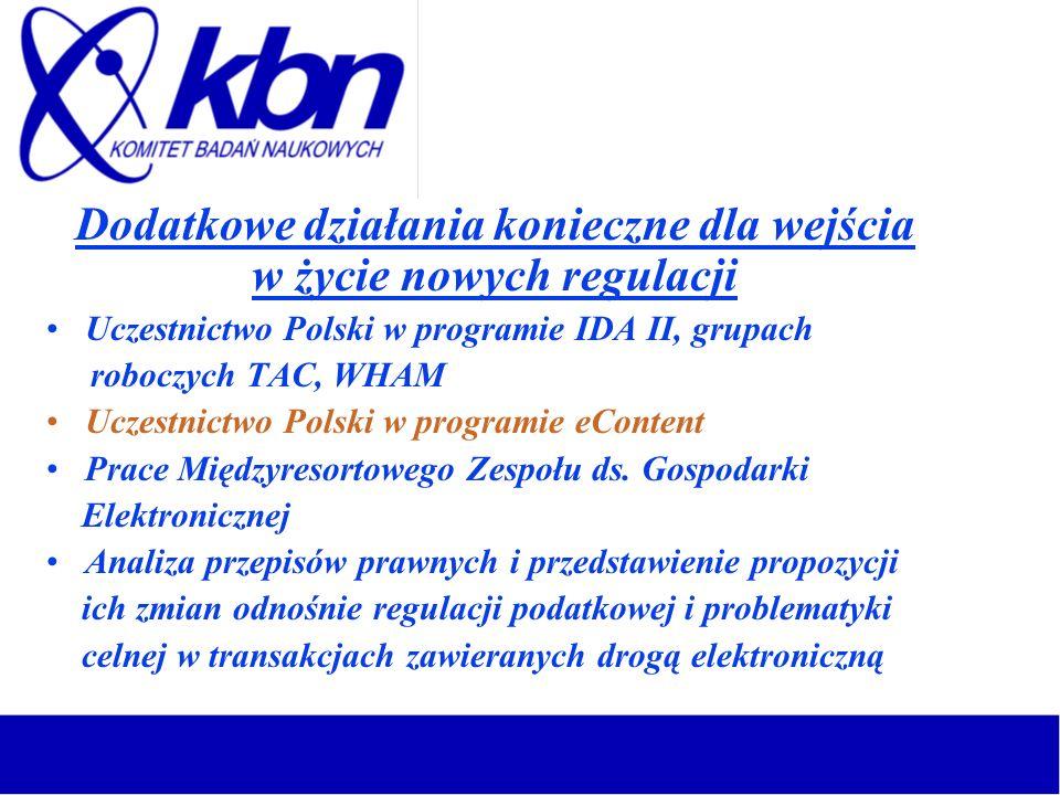 Dodatkowe działania konieczne dla wejścia w życie nowych regulacji Uczestnictwo Polski w programie IDA II, grupach roboczych TAC, WHAM Uczestnictwo Po