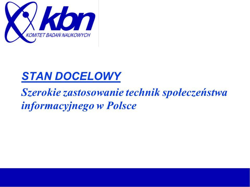 STAN DOCELOWY Szerokie zastosowanie technik społeczeństwa informacyjnego w Polsce