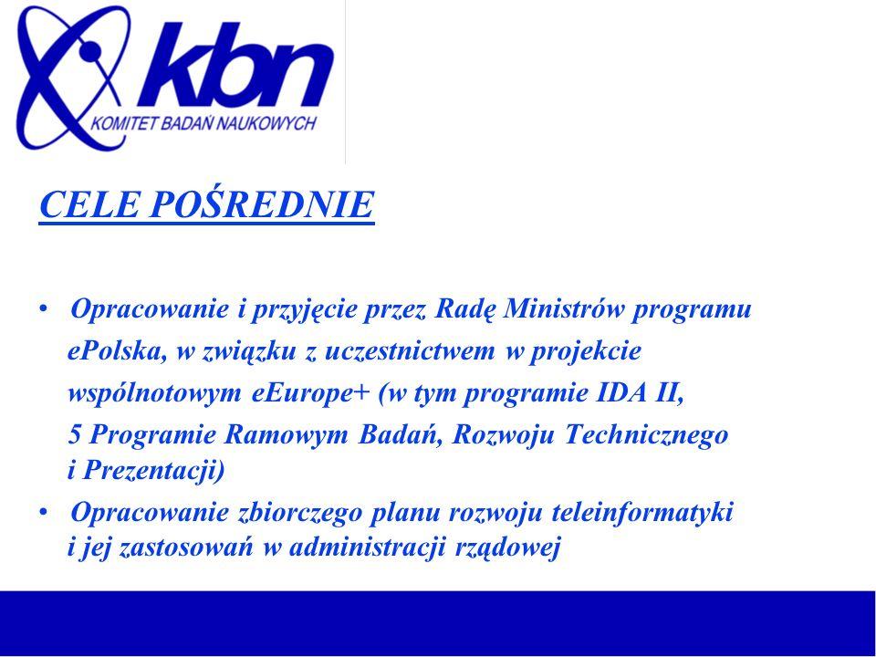 CELE POŚREDNIE Opracowanie i przyjęcie przez Radę Ministrów programu ePolska, w związku z uczestnictwem w projekcie wspólnotowym eEurope+ (w tym progr