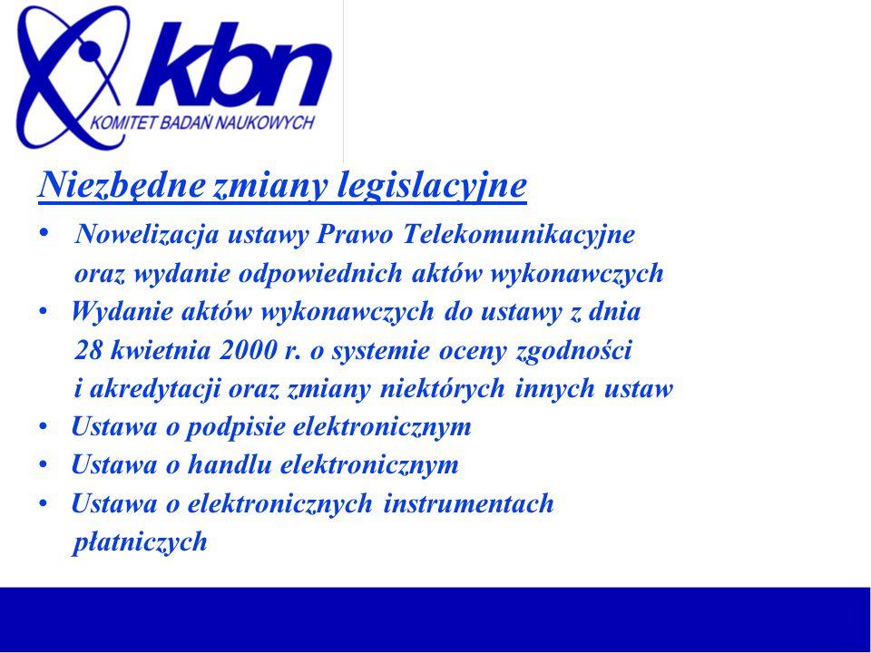 Niezbędne zmiany legislacyjne Nowelizacja ustawy Prawo Telekomunikacyjne oraz wydanie odpowiednich aktów wykonawczych Wydanie aktów wykonawczych do us