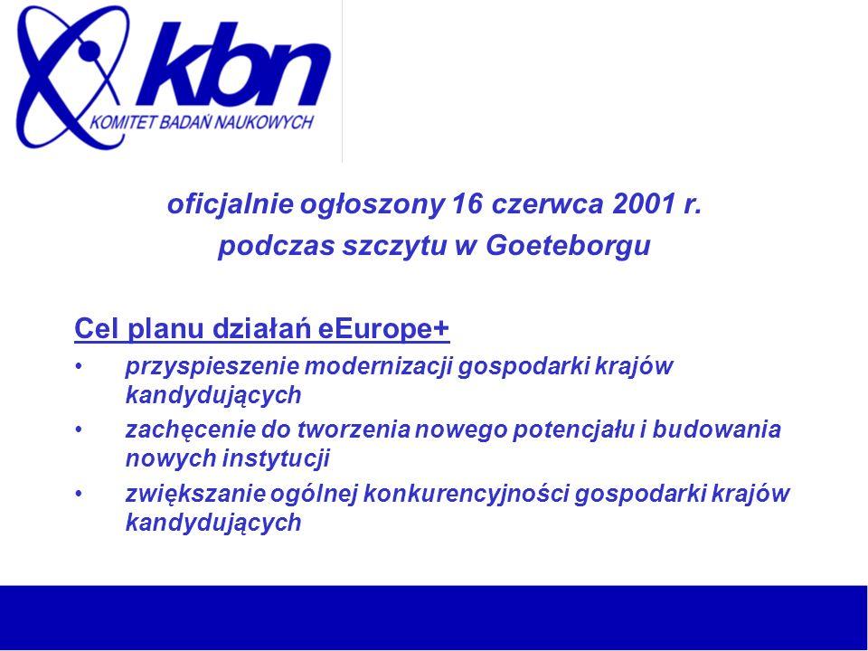 oficjalnie ogłoszony 16 czerwca 2001 r. podczas szczytu w Goeteborgu Cel planu działań eEurope+ przyspieszenie modernizacji gospodarki krajów kandyduj