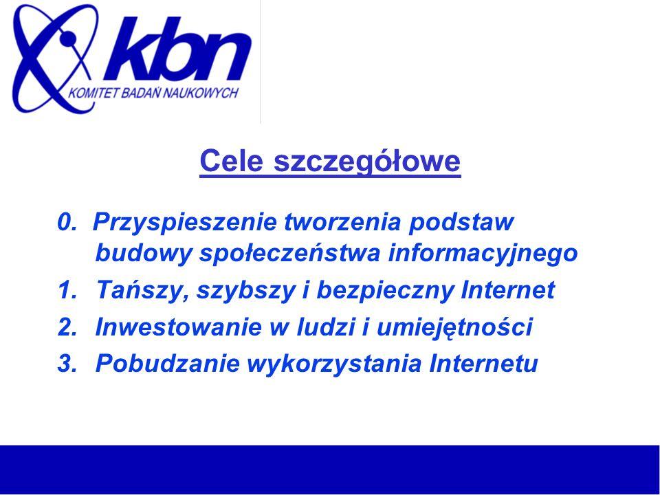 Cele szczegółowe 0. Przyspieszenie tworzenia podstaw budowy społeczeństwa informacyjnego 1.Tańszy, szybszy i bezpieczny Internet 2.Inwestowanie w ludz