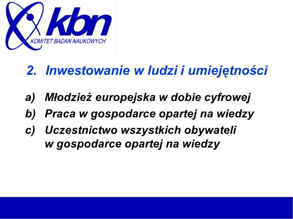2.Inwestowanie w ludzi i umiejętności a)Młodzież europejska w dobie cyfrowej b)Praca w gospodarce opartej na wiedzy c)Uczestnictwo wszystkich obywatel