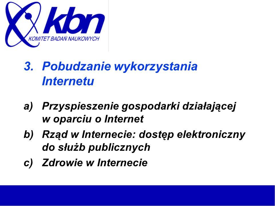3.Pobudzanie wykorzystania Internetu a)Przyspieszenie gospodarki działającej w oparciu o Internet b)Rząd w Internecie: dostęp elektroniczny do służb publicznych c)Zdrowie w Internecie