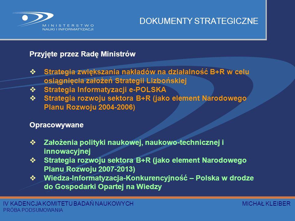 DOKUMENTY STRATEGICZNE Przyjęte przez Radę Ministrów Strategia zwiększania nakładów na działalność B+R w celu osiągnięcia założeń Strategii Lizbońskiej Strategia Informatyzacji e-POLSKA Strategia rozwoju sektora B+R (jako element Narodowego Planu Rozwoju 2004-2006) Opracowywane Założenia polityki naukowej, naukowo-technicznej i innowacyjnej Strategia rozwoju sektora B+R (jako element Narodowego Planu Rozwoju 2007-2013) Wiedza-Informatyzacja-Konkurencyjność – Polska w drodze do Gospodarki Opartej na Wiedzy IV KADENCJA KOMITETU BADAŃ NAUKOWYCH MICHAŁ KLEIBER PRÓBA PODSUMOWANIA