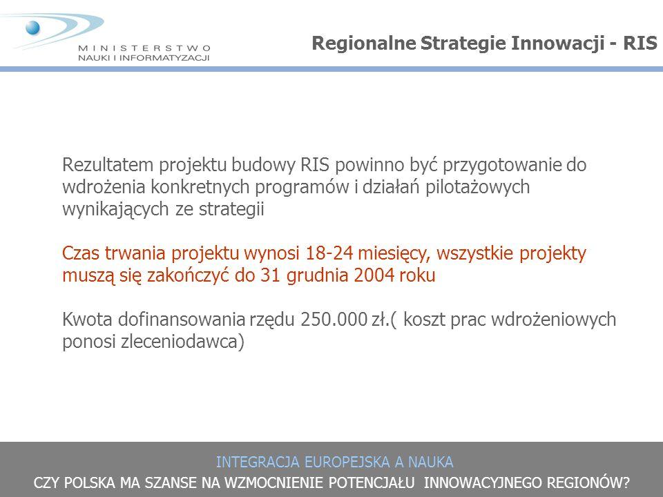 INTEGRACJA EUROPEJSKA A NAUKA CZY POLSKA MA SZANSE NA WZMOCNIENIE POTENCJAŁU INNOWACYJNEGO REGIONÓW? Regionalne Strategie Innowacji - RIS Rezultatem p