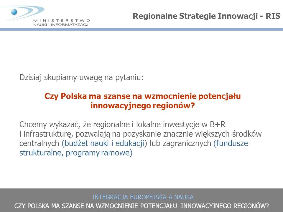 INTEGRACJA EUROPEJSKA A NAUKA CZY POLSKA MA SZANSE NA WZMOCNIENIE POTENCJAŁU INNOWACYJNEGO REGIONÓW? Dzisiaj skupiamy uwagę na pytaniu: Czy Polska ma