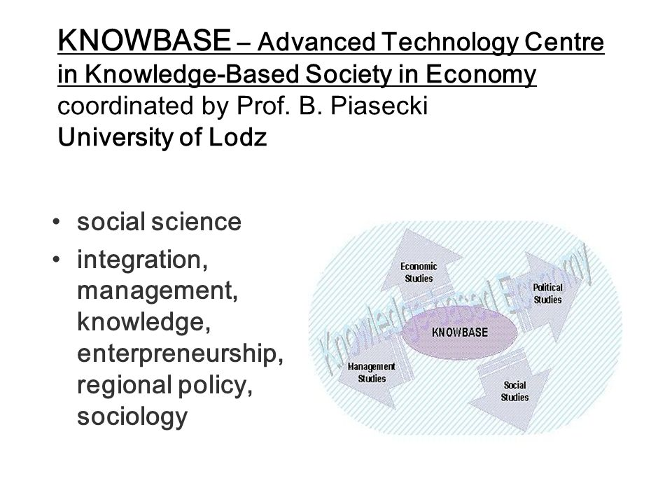 KNOWBASE – Advanced Technology Centre in Knowledge-Based Society in Economy coordinated by Prof.